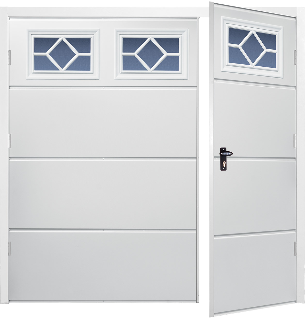 Side hinged frame wide rib horizontal white the garage for Garage side door and frame